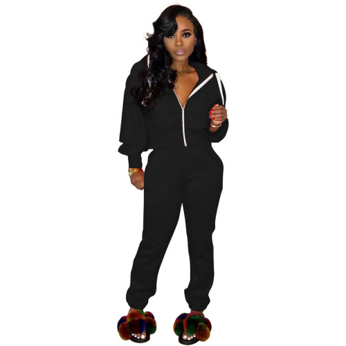 Fashion sports style hooded sweater multicolor two-piece suit