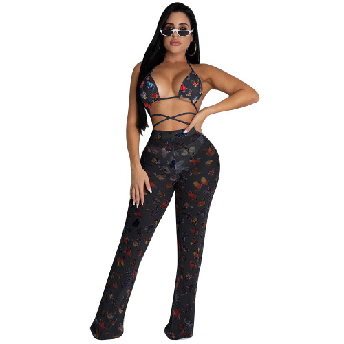 Black butterfly    Two-piece set of ruffled wide-leg pants (including panties)
