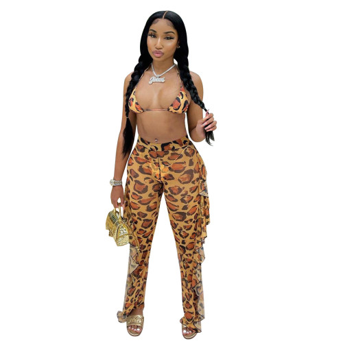 Leopard   Two-piece set of ruffled wide-leg pants (including panties)