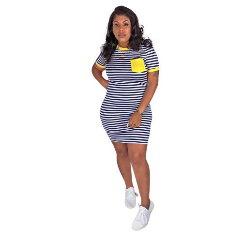 Yellow  Striped printed pocket dress