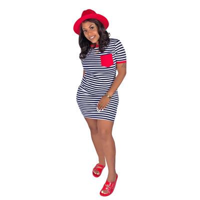 Red  Striped printed pocket dress