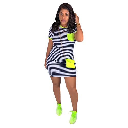 Green   Striped printed pocket dress
