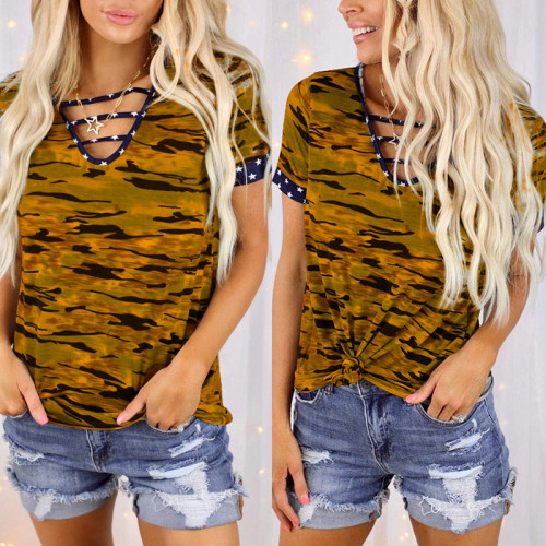 Copy European and American printed short-sleeved V-neck tie loose top T-shirt