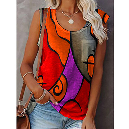 Copy Women's casual round neck sleeveless color matching T-shirt plus size vest top