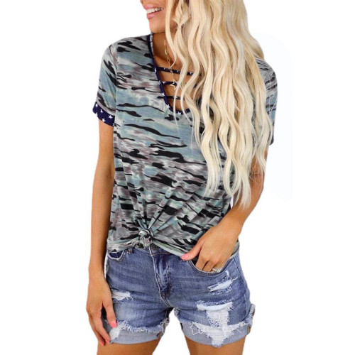 European and American printed short-sleeved V-neck tie loose top T-shirt