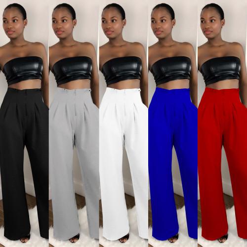 Multicolor High Waist Zipper Casual Pants Wide Leg Pants
