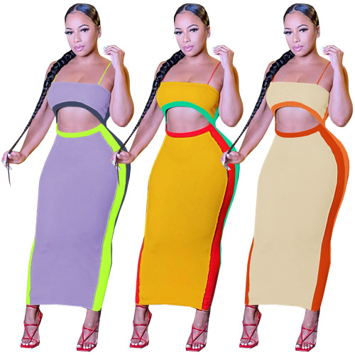 Multicolor color matching sleeveless suspenders dress stretch fabric