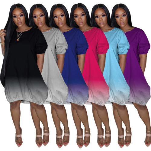 Classic casual gradient solid color dress