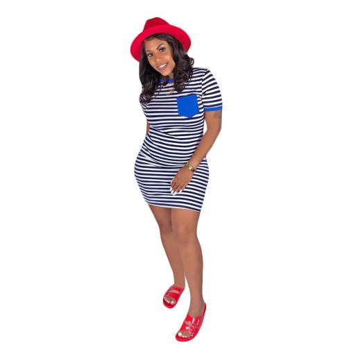 Blue   Striped printed pocket dress