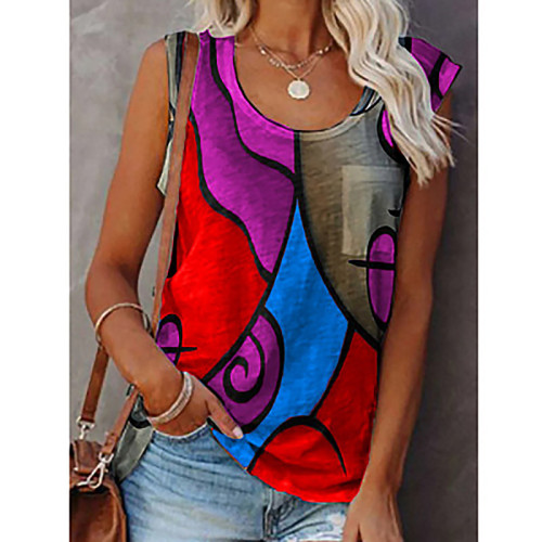 Women's casual round neck sleeveless color matching T-shirt plus size vest top
