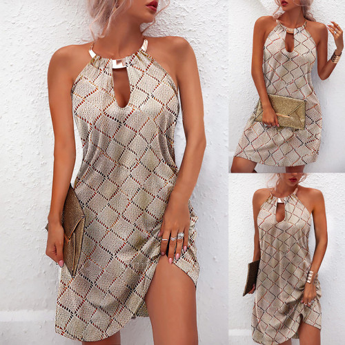 Explosion style printed metal halterneck sleeveless dress