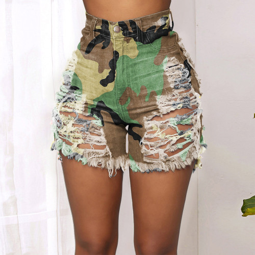 Green camouflage  Tie-dye printed denim shorts with ripped hollow buttons
