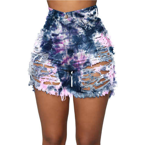 Dark blue powder   Tie-dye printed denim shorts with ripped hollow buttons