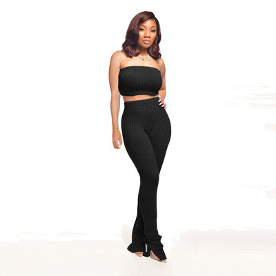 Black  Women's tube top tight-fitting pullover knitted sleeveless blouse wool pants suit