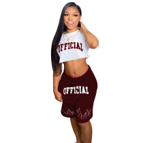 Wine  Red   Two-piece printed leisure sports set