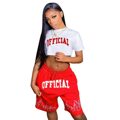 Red  Two-piece printed leisure sports set