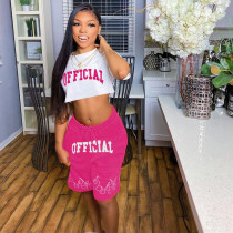 Pink   Two-piece printed leisure sports set