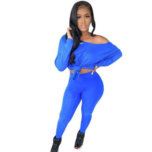 Blue   Women's solid color oblique strapless long two-piece suit
