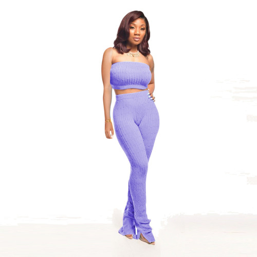 Blue    Women's tube top tight-fitting pullover knitted sleeveless blouse wool pants suit