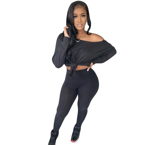 Black   Women's solid color oblique strapless long two-piece suit