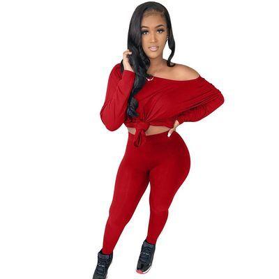 Red  Women's solid color oblique strapless long two-piece suit