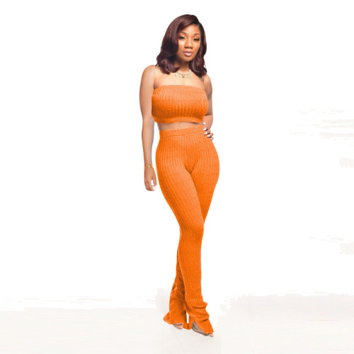 Orange    Women's tube top tight-fitting pullover knitted sleeveless blouse wool pants suit