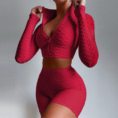 Wine  red Women's tight-fitting solid color long-sleeved leisure yoga sports suit