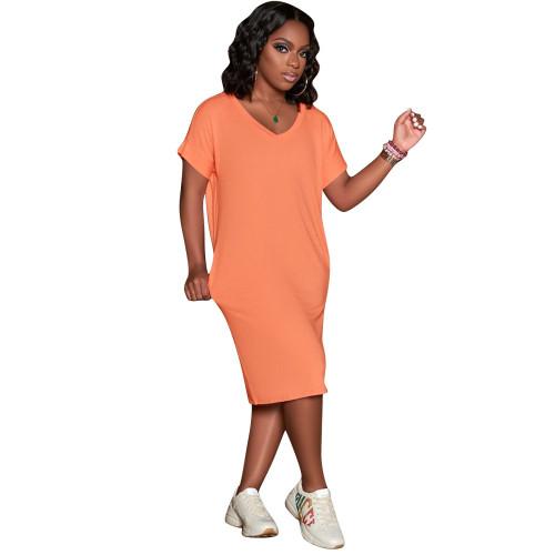 Orange Solid color V-neck short-sleeved dress