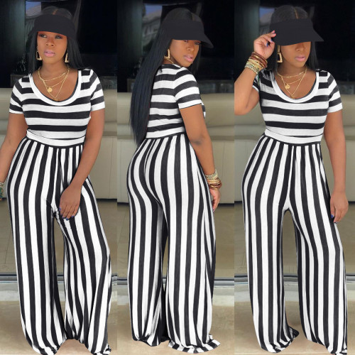 Black   Striped round neck short-sleeved wide-leg jumpsuit