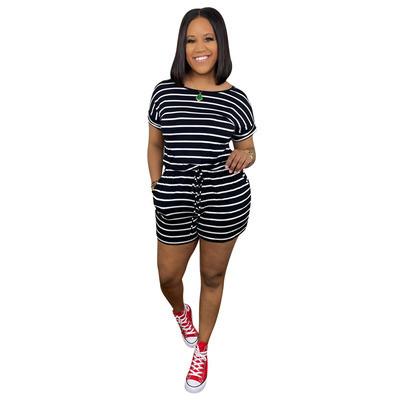 Black   Striped drawstring zip jumpsuit
