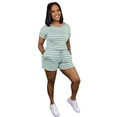 Olive    Striped drawstring zip jumpsuit