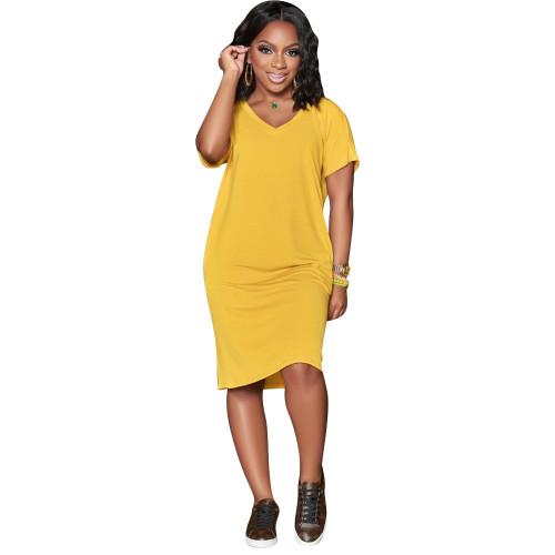 Mustard  Solid color V-neck short-sleeved dress
