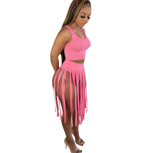 Pink  Two-piece nightclub skirt with fringed skirt