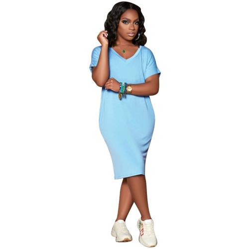 Light blue  Solid color V-neck short-sleeved dress