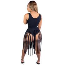 Black Two-piece nightclub skirt with fringed skirt