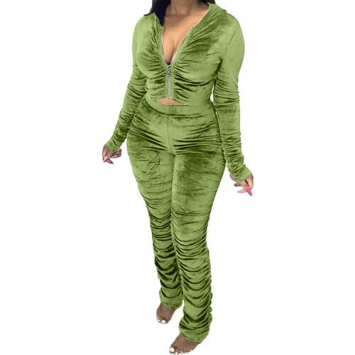 Green  Two-piece pleated women's autumn and winter fashion casual suit