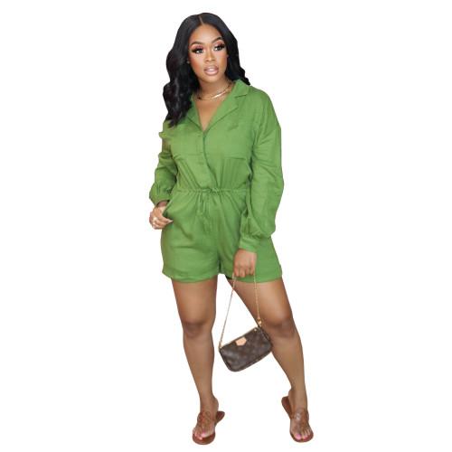 Green  Autumn and winter elastic waist jumpsuit