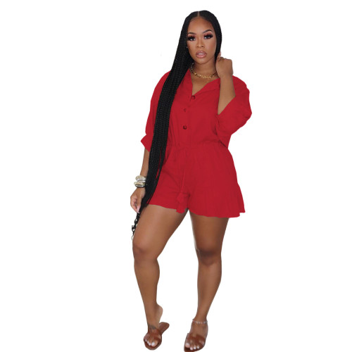 Red   Ruffled fashion sexy plus size jumpsuit jumpsuit