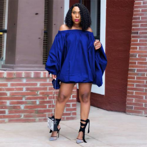 Blue   Solid color one-shoulder lantern dress women's clothing