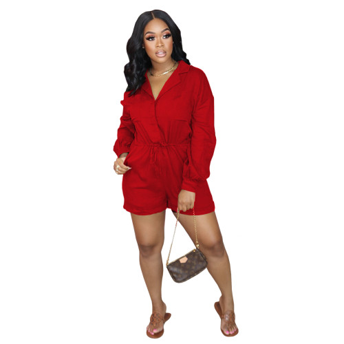 Red    Autumn and winter elastic waist jumpsuit
