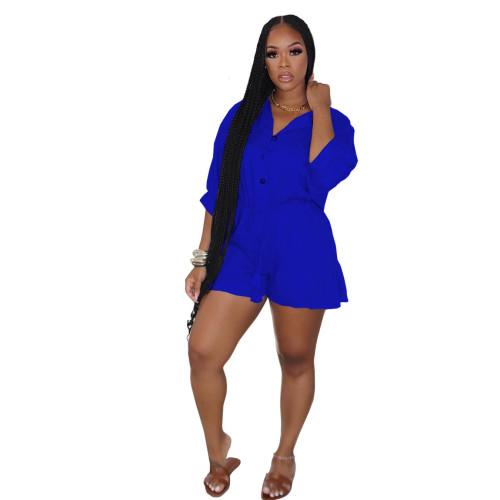 Blue   Ruffled fashion sexy plus size jumpsuit jumpsuit