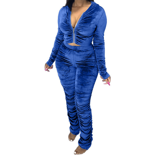 Dark  blue  Two-piece pleated women's autumn and winter fashion casual suit