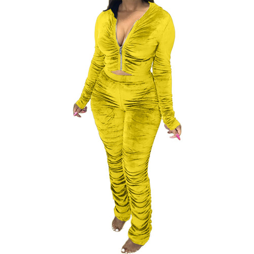 Yellow  Two-piece pleated women's autumn and winter fashion casual suit