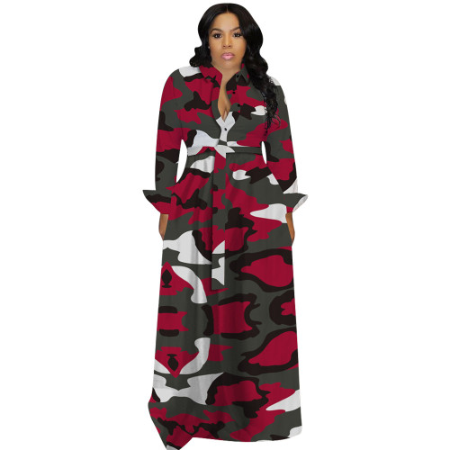 Red   Autumn and winter plus size women's sexy dress