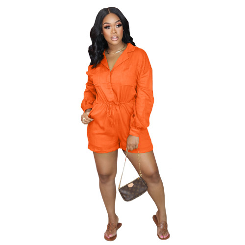 Orange    Autumn and winter elastic waist jumpsuit