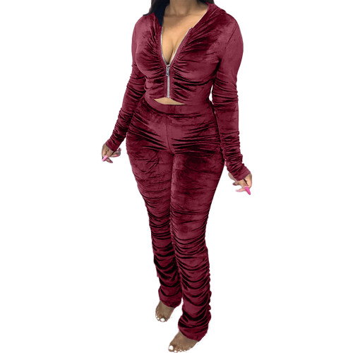 Wine  red   Two-piece pleated women's autumn and winter fashion casual suit