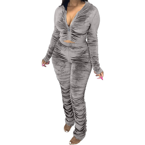 Grey   Two-piece pleated women's autumn and winter fashion casual suit