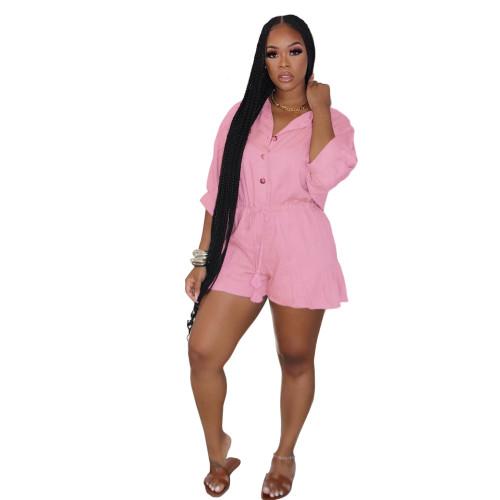 Pink   Ruffled fashion sexy plus size jumpsuit jumpsuit