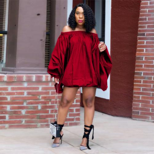 Red   Solid color one-shoulder lantern dress women's clothing