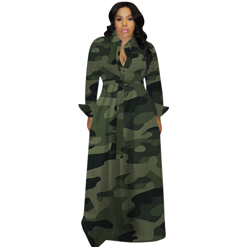 Green  Autumn and winter plus size women's sexy dress